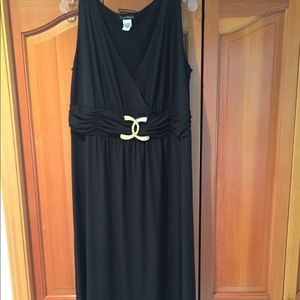 Dresses - Gold and black empire waist dress